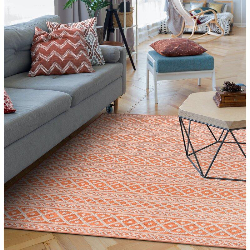 Theroux Power Loom Orange Indoor/Outdoor Use Rug