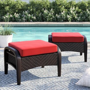 Cerralvo Rattan Club Ottoman with Cushion (Set of 2) by Sol 72 Outdoor