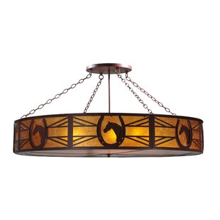 Meyda Tiffany Greenbriar Oak Horseshoe 8-Light Semi-Flush Mount