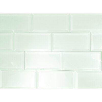 Abolos Abolos Frosted Elegance Beveled Rectangle 3 in. x 6 in. Glass Handmade Backsplash Bathroom Subway Wall Tile