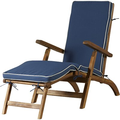 Barksdale Chaise Lounge with Cushion Color: Teak Brown / Navy by Beachcrest Home