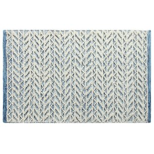 Best Choices Herringbone Berber Hand-Woven Blue/White Area Rug By CompanyC