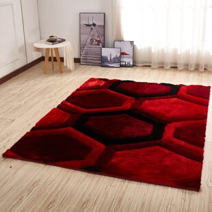 Best Price Kleiber Modern Shaggy 3D Red/Black Area Rug By Orren Ellis