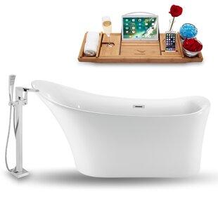 59 x 30 Freestanding Soaking Bathtub with Tray by Streamline Bath