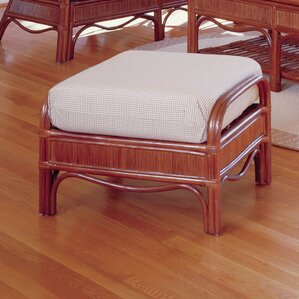 Bermuda Jasmine Antique Stripe Ottoman by South Sea Rattan
