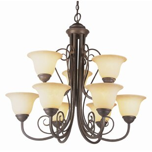 Charlton Home Blue Heron 9-Light Shaded Chandelier