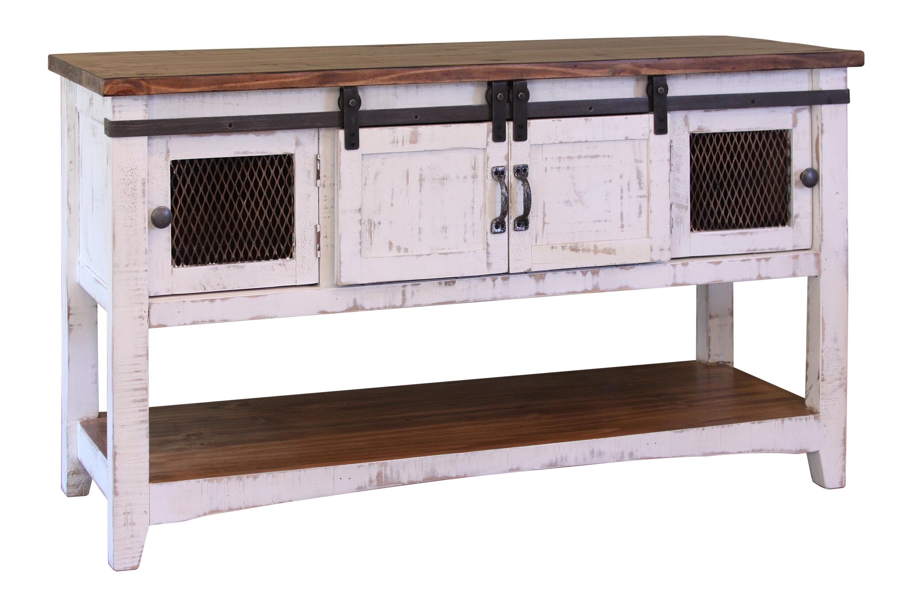 Gracie Oaks Coralie 2 Sliding Door Console Table Reviews Wayfair