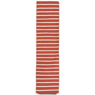 Ranier Pinstripe Hand-Woven Paprika Orange Indoor/Outdoor Area Rug