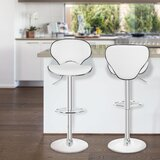 Martinelli PU Leather Counter Adjustable Height Swivel Bar Stool (Set of 2) by Orren Ellis