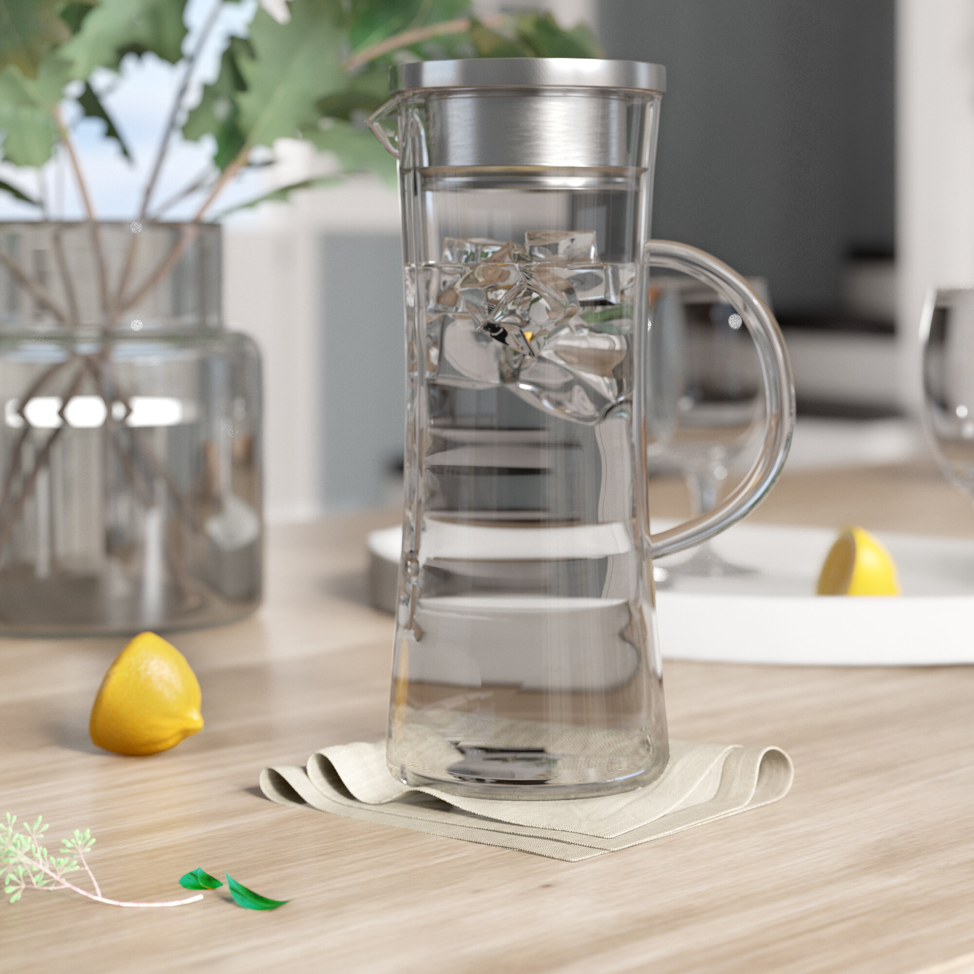 Juice With Spout and Handle Ice Tea Jug Hold 50 oz Le/'raze With Beautiful Pineapple Pattern Fruit Punch and Beverages Elegant Crystal Clear Pitcher Ideal for Water