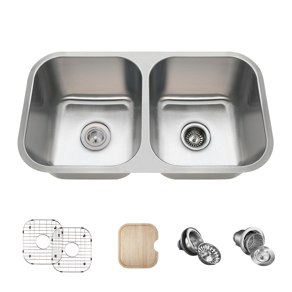 Mrdirect Stainless Steel 32 X 18 Double Basin Undermount Kitchen Sink With Additional Accessories Reviews Wayfair