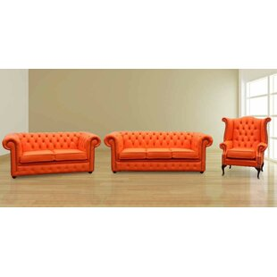Faustine Chesterfield 3 Piece Leather Sofa Set By Marlow Home Co.