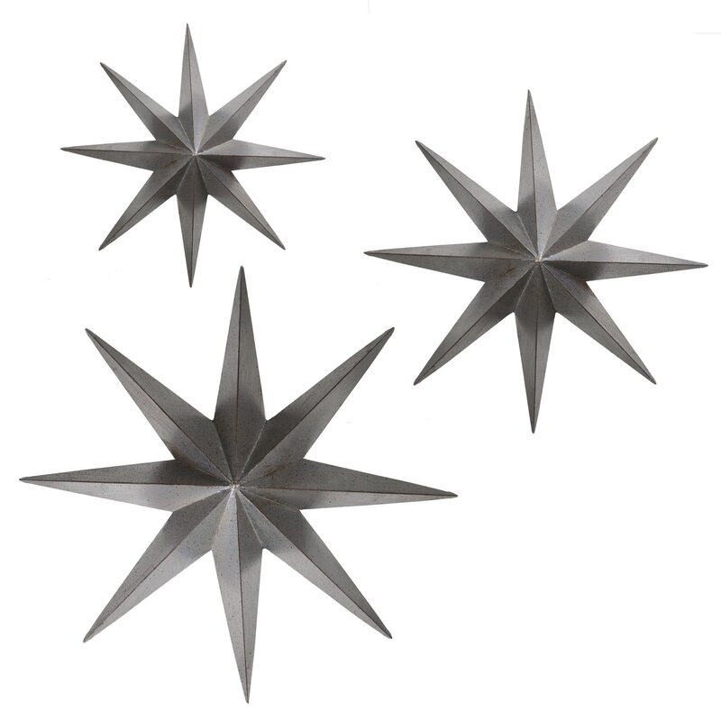 3 Piece Metal Stars Wall D