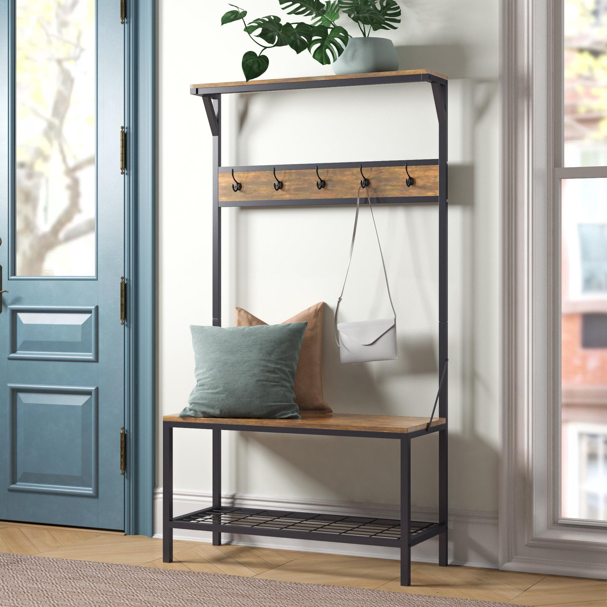Coat Rack Corner Hall Tree Hat Stand Two Shoe Storage Shelf Hooks Wood Mudroom