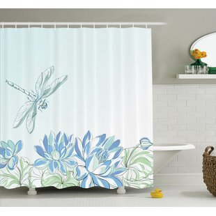 Peterman Country Waterlilies Flowers And Dragonflies Simplistic Home Eco Nature Theme Artwork Shower Curtain