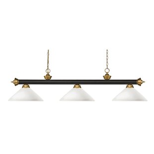 Zephyr 3-Light Bowl Glass Pool Table Light with Hanging Chain by Red Barrel Studio