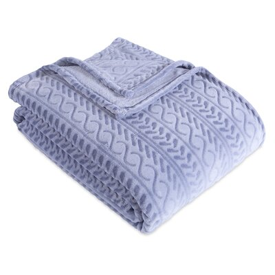 Cozy Cable Knit Blanket Berkshire Blanket Color: Celestial Blue, Size: King