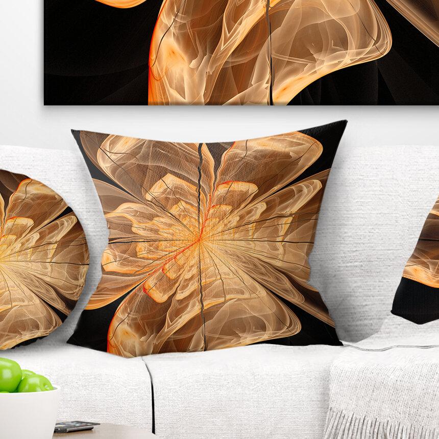 East Urban Home Floral Symmetrical Fractal Flower Pillow Wayfair