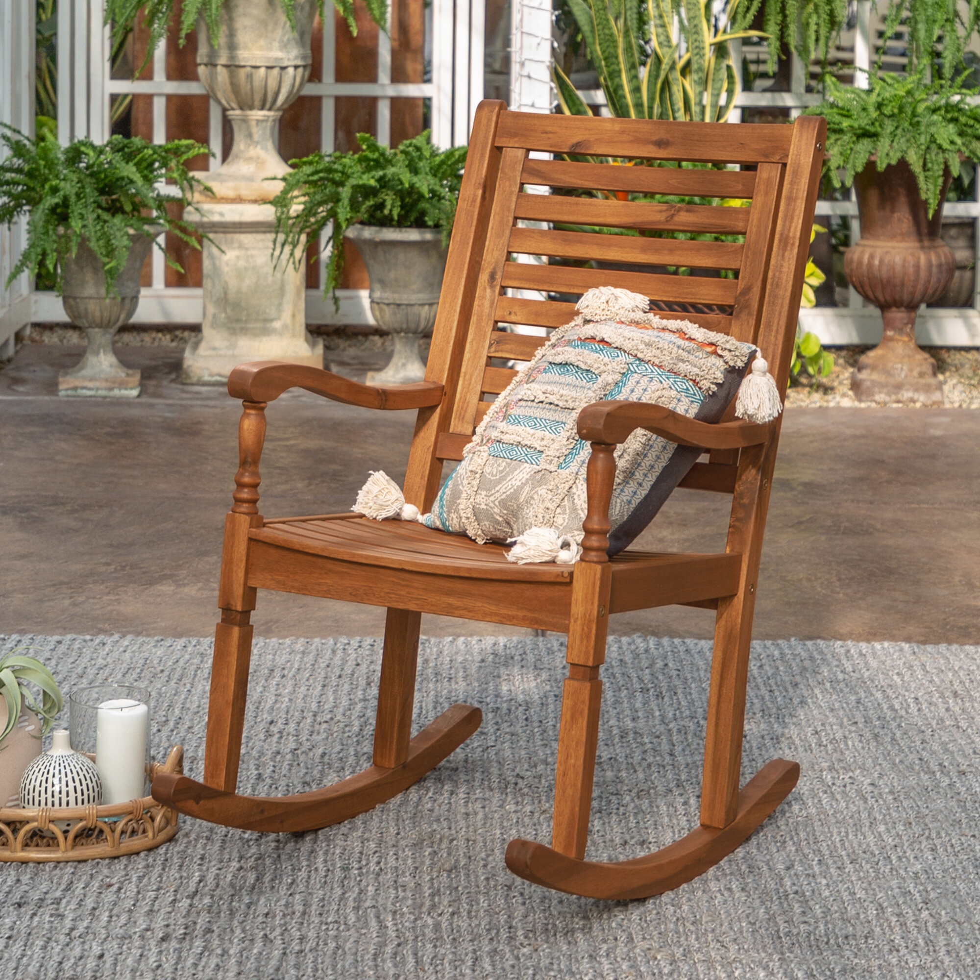 Picture of: Jarrard Solid Acacia Wood Patio Rocking Chair Reviews