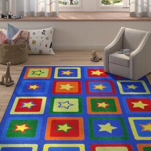 Top Reviews Alvarado Sitting Stars Blue/Yellow Area Rug ByZoomie Kids