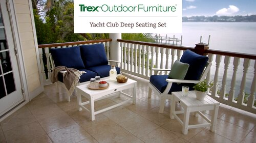 Trex Yacht Club Deep 4 Piece Sunbrella Sofa Seating Group With Cushions Wayfair