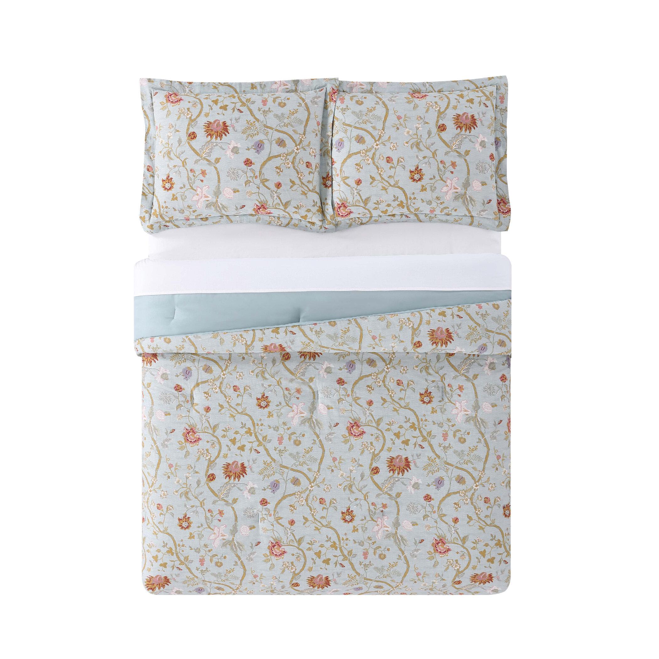 6 Piece Abigail Floral Mint//Blush//White Quilt Set Full//Queen