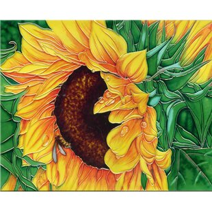 Sunflower with Green Leaves Tile Wall Decor