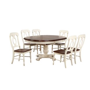 Kenya Butterfly Leaf 7 Piece Breakfast Nook Solid Wood Dining Set