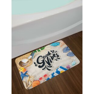 On the Beach Concept Seacoast Shoreline Vacation Holiday Travel Wellness Theme Bath Rug