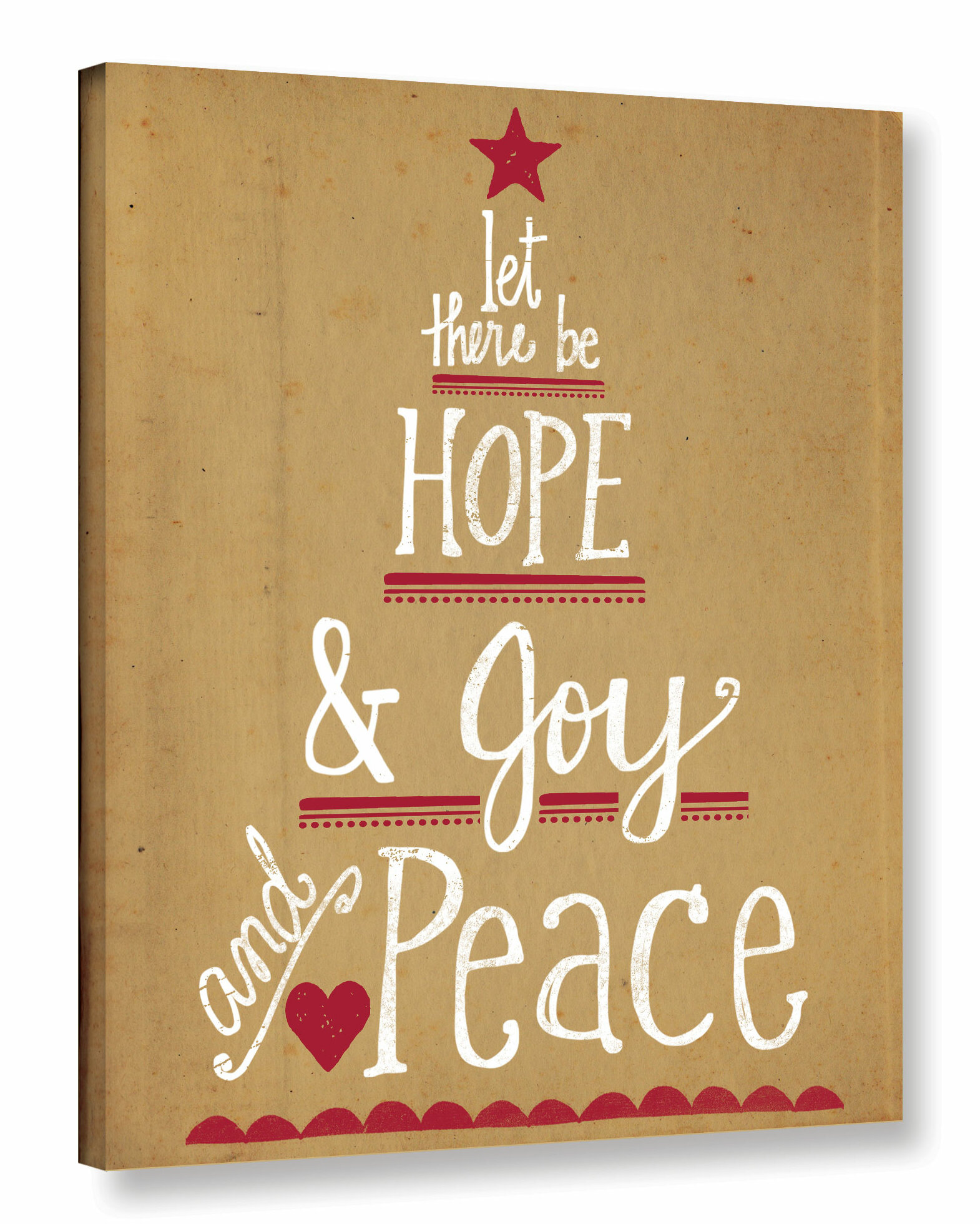 The Holiday Aisle Hope Joy and Peace Textual Art on Wrapped Canvas ...