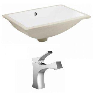 Royal Purple Bath Kitchen CUPC Ceramic Rectangular Undermount Bathroom Sink with Faucet and Overflow