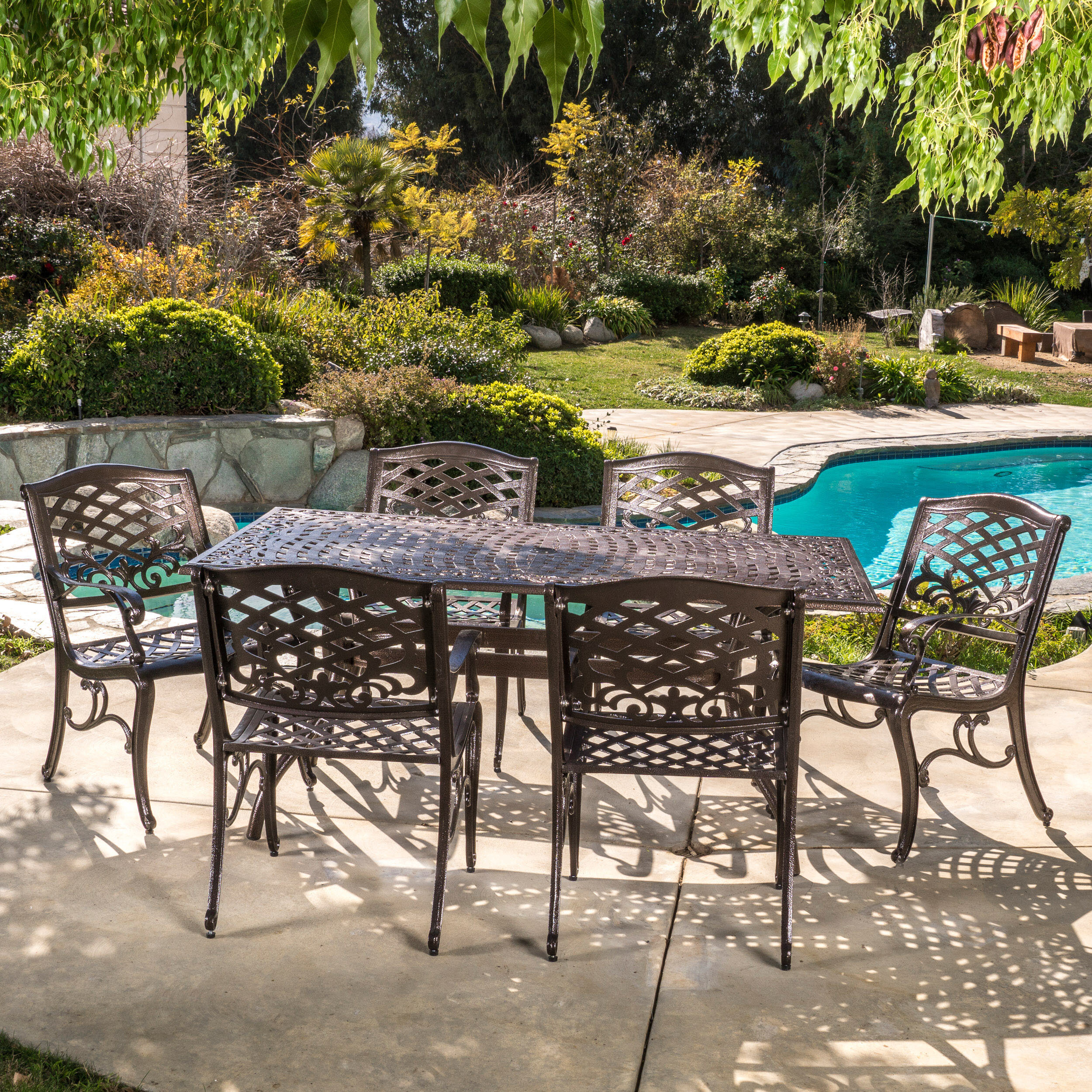 Fleur De Lis Living Ravenna Cast Aluminum 7 Piece Outdoor Dining Set Reviews Wayfair