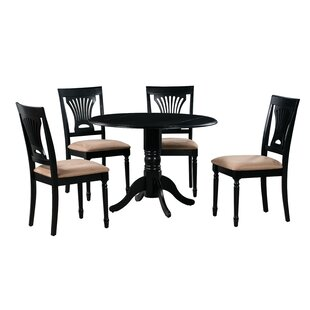 Forthill 5 Piece Drop Leaf Solid Wood Dining Set Alcott Hill