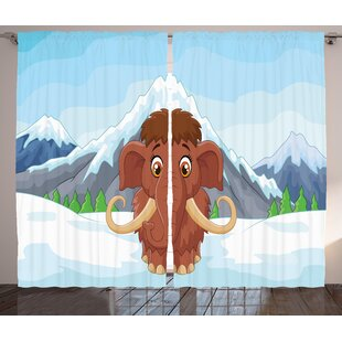 Alvin Baby Mammoth in Ice Graphic Print & Text Semi-Sheer Rod Pocket Curtain Panels (Set of 2) by Zoomie Kids
