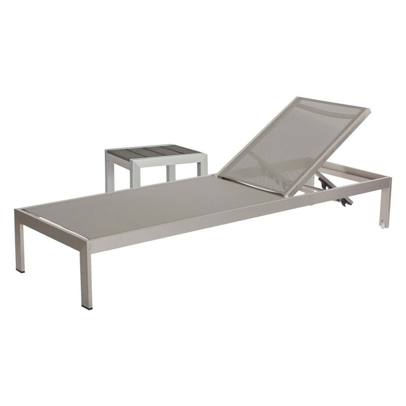 Rosecliff Heights Thirsk Reclining Chaise Lounge and Table