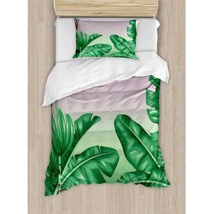 Botany Exotic Flowering Plants Wild Orchid Blooms Romantic Mother Earth Print Duvet Set by Ambesonne