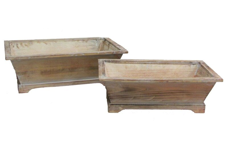 Highland Dunes Pocola Long Rectangle 2 Piece Wood Planter Box Set Wayfair
