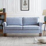 Linen 55.9 Wide Rolled Arm Loveseat by Red Barrel Studio®
