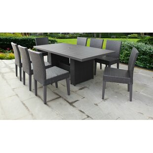 TK Classics Belle 9 Piece Outdoor Patio Dining Set with Cushions