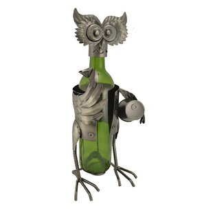 Owl with Barrel 1 Bottle Tabletop Wine Ra..