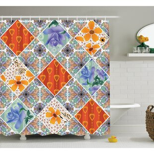 Farm House Patchwork with Heart and Swirling Flower Pattern with Folkloric Feminine Details Shower Curtain Set