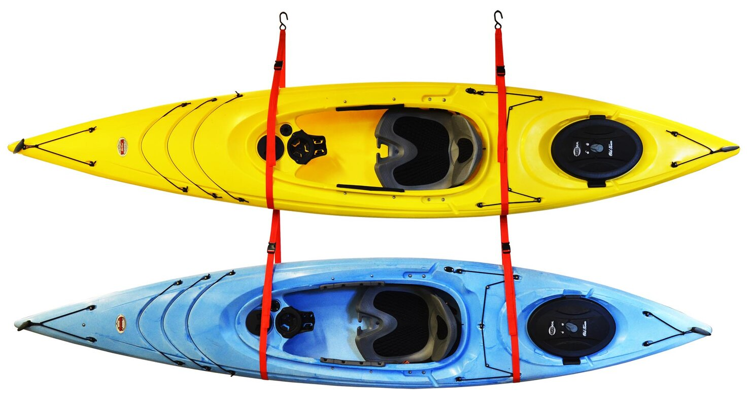 SlingTwoTM Double Kayak Storage System Ceiling Wall Mounted Rack