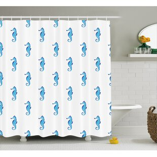 Roxanna Navy Fish Motif Sealife Shower Curtain + Hooks