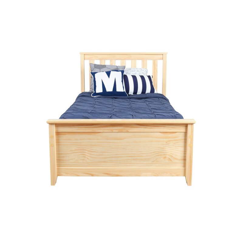 Solid Wood Twin Platform Bed With Under Storage Drawer
