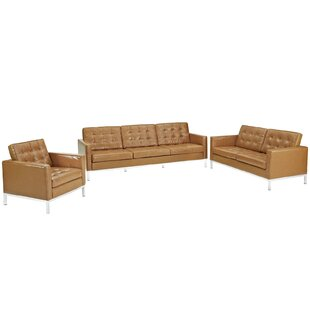 Orren Ellis Gayatri 3 Piece Leather Livin..