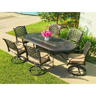 Beadle Oval Cast Aluminum 7 Piece Dining Set with Cushions by Darby Home Co