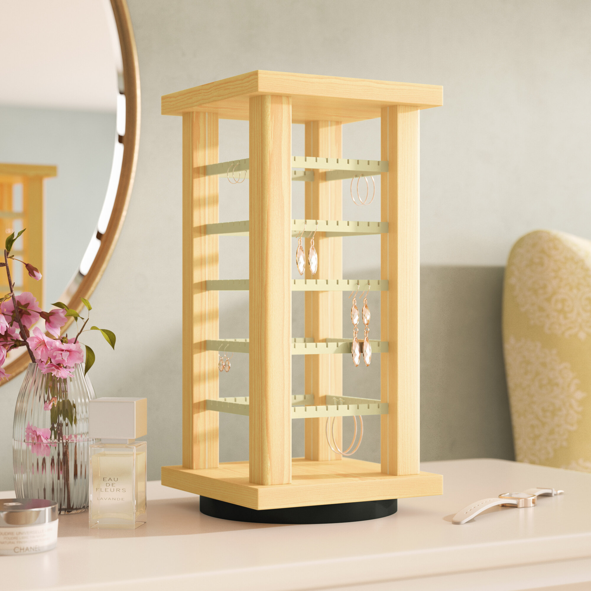 Rebrilliant Wooden Rotating Earring Display Jewelry Stand Reviews Wayfair