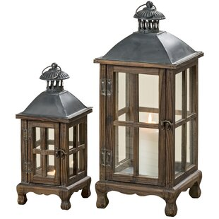 World Menagerie Rustic 2 Piece Metal Lantern Set