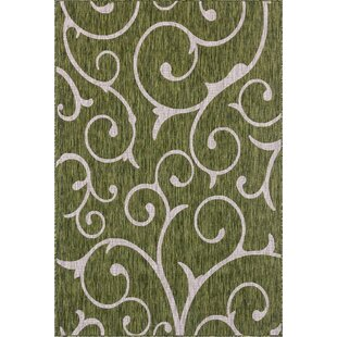 Hague Power Loom Polypropylene Botanical Green Indoor/Outdoor Area Rug