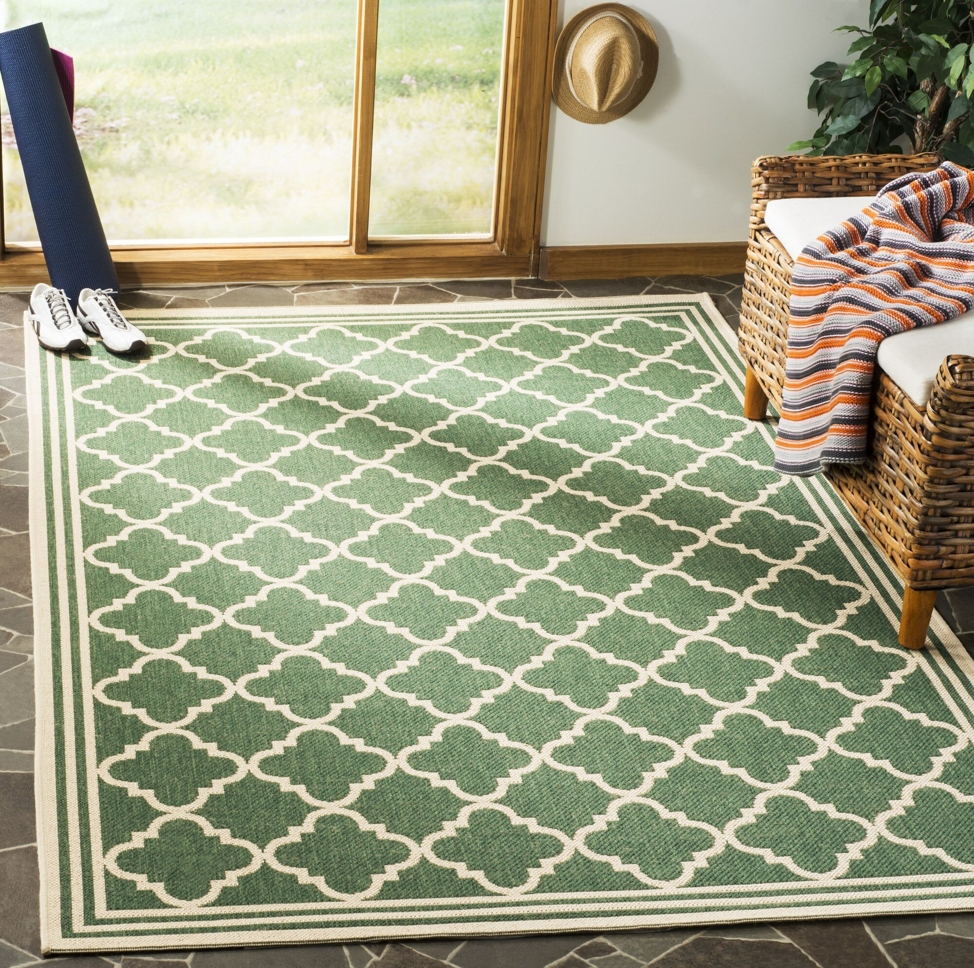 Darby Home Co Berardi Green Cream Area Rug Reviews Wayfair